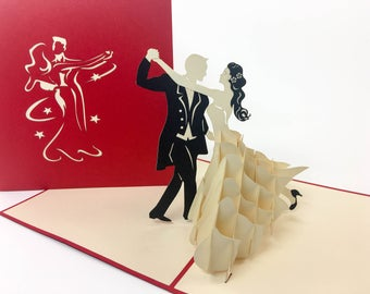 First Dance - Romantic - Pop Up Card - Anniversary Card - Love Card - Good Greeting Card - I Love You Card - Valentines Day Card