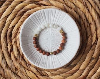 Moonstone, Diamond Brass and Bayong Wood Beaded bracelet