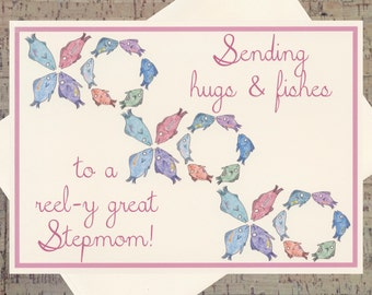 Stepmom Card, Mothers Day Card, Hugs And Kisses, Funny Mothers Day Card, Mother Card, Funny Mother Card, Mom Card, Funny Mom Card