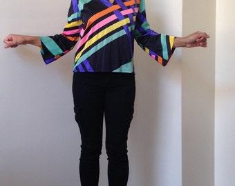 Vtg Neon Weave Print Bold Stripe V-Neck Flared Sleeve Blouse/Tunic