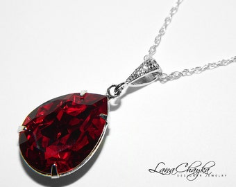 Dark Red Crystal Necklace Siam Red Rhinestone Necklace Swarovski Siam Wedding Necklace Red Teardrop Sterling Silver Necklace