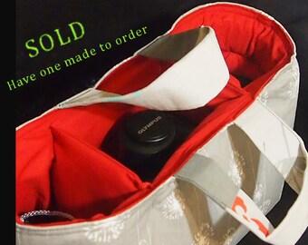 Dslr Camera bag insert / Handles / Slr Camera case / Canon 6d Nikon Sony  / Dslr bag / Camera bag insert 12x6x8 Camera bag
