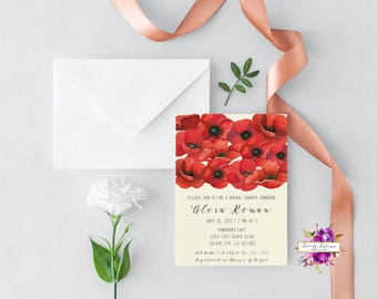 floral bridal shower - red poppy - watercolor floral - bridal shower invitation - digital invitation - printable invitation