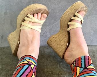 90's Platform Beige Cork Sandals / Vintage Wedge Mule Slip On Slide / Women's 7.5M