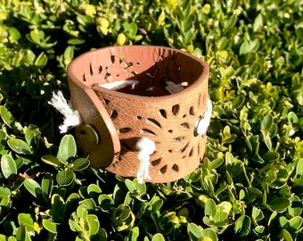 Faux Leather and Lace Bracelet