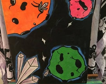 in the space of weird planets acrylic painting