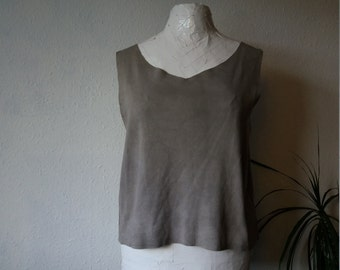 Organic tank vest cotton stretch tshirt top natural grey maternity minimalist boho shirts rustic clothing rough cut eco drapey women ethical