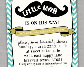 Mustache Baby Shower Invitation -- Little Man