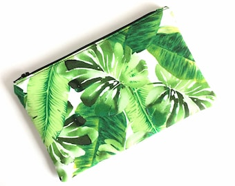 TROPICAL ZIPPER POUCH - Small Makeup Bag - Bridesmaid Clutch Set - Tropical Makeup Bag - Palm Leaf Bag - Gift for Her - Cute Makeup Bag