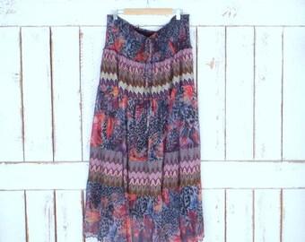 Vintage 90s sheer animal print/floral knit Indian print boho maxi stretch skirt/long gypsy festival skirt/tube top dress/3X