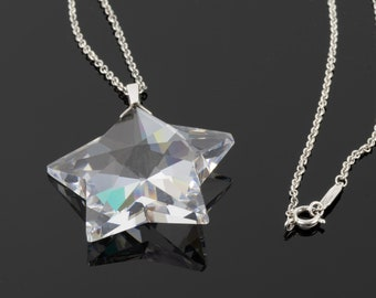 """Tiffany & Co. Rock Crystal Star Pendant Necklace // Rare Item // 925 Sterling Silver // Large Crystal // 18"""" Chain"""
