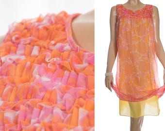Vibrant soft sheer double layer pink and orange floral design nylon with yellow inner and ruffle trim bodice 60's vintage nightgown - PL1910