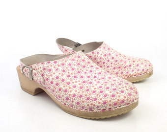 Leather Wooden Clogs Shoes Vintage Floral 1990s Leather Size 42