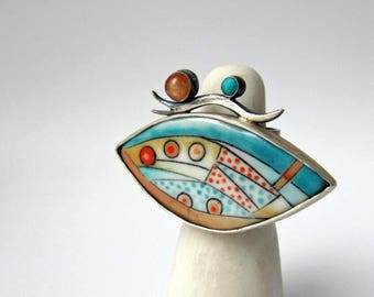 Androconia - sterling silver porcelain ring, abstract moth wing ring, turquoise orange, contemporary art ring, unique artisan ceramic ring