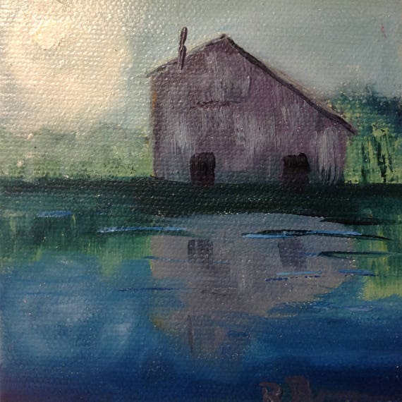 Moonlight Painting with Easel, Barn Reflection, Summer Art, Lake Art, Landscape Painting, Miniatures