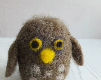 Needle felted owl - cute little owl - owl gift - owl collectable - felted brown owl - felted baby owl