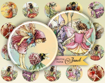 Little Fairy - circles image - digital collage sheet - 1 x 1 inch - Printable Download