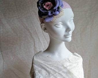 Böhmische Blume Hochzeit Kopfschmuck in blau und Pink. Shabby chic böhmischen Braut Haarband. Handgemachte Stirnband in blau und Pink.