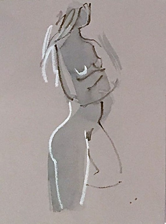 Nude painting of One minute pose 114.2 nude art, original, gesture sketch by Gretchen Kelly