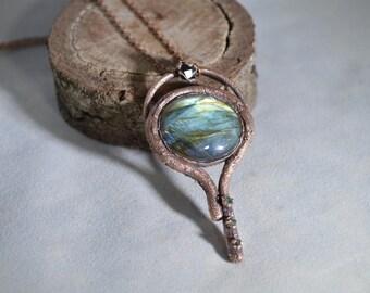 Labradorite,Garnets,Copper Electroformed Necklace Pendant/Electroformed Labradorite/Raw Organic Gems/Nevada Garnet/Demantoids/One Of A Kind