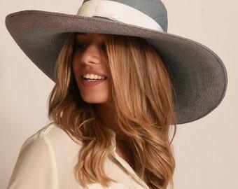 Panama hat / wide brim summer  Hat for Women / ladies straw hat/hat for large head U.K./ blue Summer Hat / large straw hat