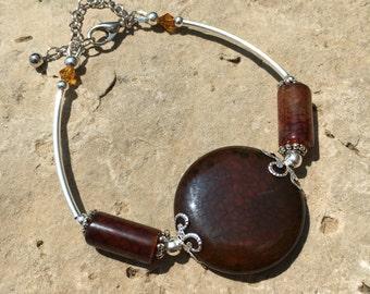 Vous inquiétez pas de Pierre, Bracelet, Bracelet d'Agate veine Dragon marron, Bracelet d'Agate, Bracelet d'Agate veine Dragon, médiéval Bracelet, bijoux pierre de souci