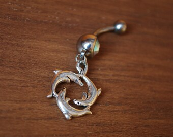 Tree dolphins belly button ring, simple silver body piercing supply, bauchnabel piercing, navel piercing