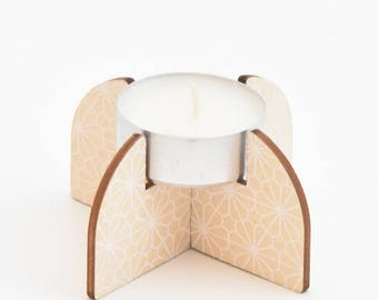 Wooden tea light holder with PCB