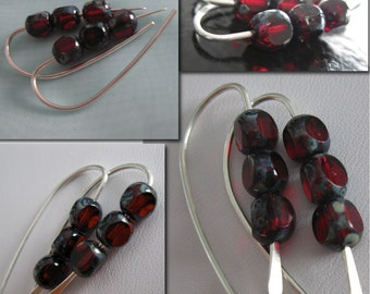 CRIMSON. Earrings. solid sterling silver.  crimson red Picasso glass beads