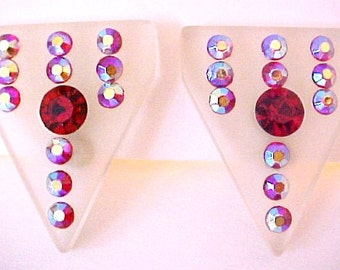 Vintage Designer Signed Frosted White Lucite & Red Rhinestone Earrings aurora borealis