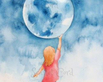 ACEO Watercolor Print, Girl and Moon, Art Card, ATC, 2.5x3.5, Watercolor Moon, Girl touching Moon, Miniature Painting, Children's Room Decor