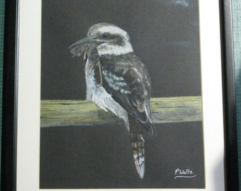 REDUCED - Dinner Time -  Kookaburra with a Mouse - Original Watercolour Art Artist Painting Wallart