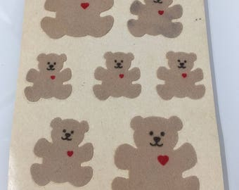 Vintage Rare Sandylion Fuzzy Teddy Bears  Maxi Sheet Stickers