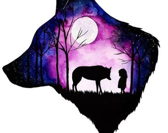 Midnight Wolf A3 Print