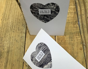 Love you to the moon and back- Greetings Card- Blank inside- Valentines Day