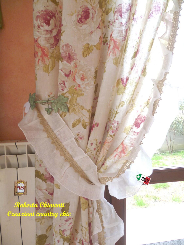 Tenda in due pannelli country chic shabby chic con gala in for Fiori di stoffa shabby chic