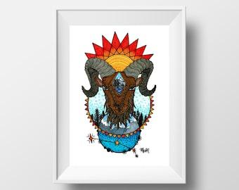 8x10 Aries Art Print / Astrology / Zodiac Sign / Constellation / Ram / Aries Gifts / Matted to 11x14 / Modern / Zentangle