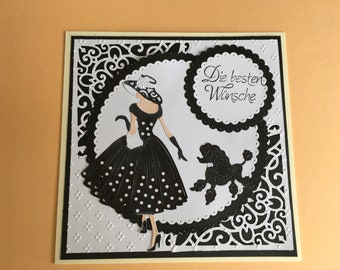 Greeting card, best wishes, lady with dog, black and white