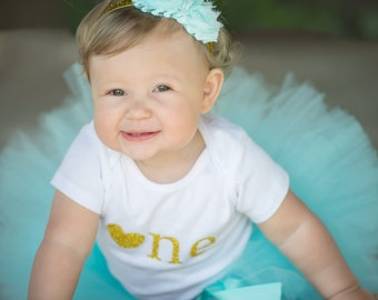 First Birthday...Baby Girl 1st Birthday Outfit...Tutu Outfit...Gold First Birthday Outfit...One Year Old Birthday Girl Outfit..Birthday Tutu