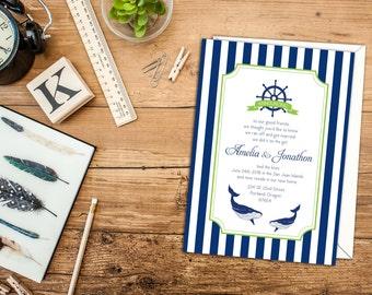 Nautical Stripes Elopement Announcement, Nautical Wedding Invitation, Nautical Invitation or Announcement, Beach Wedding or Announcement
