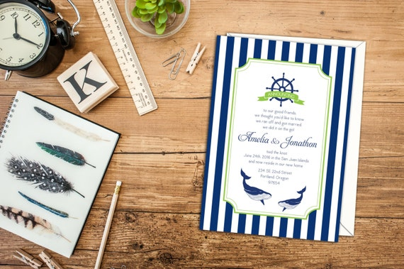 Nautical Stripes Elopement Announcement, Nautical Wedding Invitation, Nautical Invitation or Announcement, Beach Wedding or Announcement