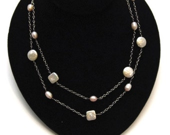Coin and Square Pearl and Sterling Chain Necklace
