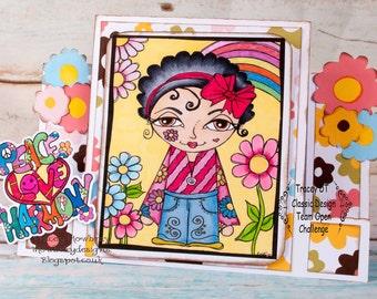 Digital stamp colouring image - Sketchy hippy Girl + freebie. jpeg / png