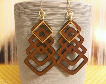 Brown dyed wood earrings with gold square accent