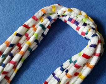 Rainbow Stripes Recycled T-shirt Necklace - upcycled tshirt necklace tarn tshirt yarn, colorful striped necklace, fabric necklace