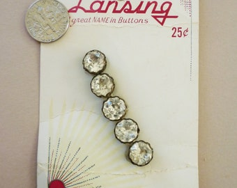 5 Rhinestone Buttons, Carded, NOS, Dressmaker Set, Five on Original Store Card, 3/8 inch