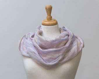 Sale 50% Off Felted scarf, infinity scarf, Cobweb Felted Scarf, Sorbet merino wool and silk fibres, Hole, lattice scarf