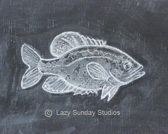 Crappie Fish Chalkboard Print 5x7 - Woodland Nursery Print  - Nature Inspired Art
