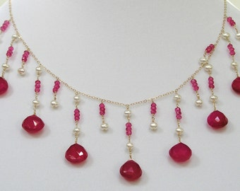 Pink Chalcedony & Pearl Necklace - item #1190