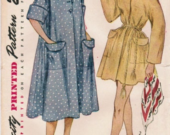 1950s Simplicity 3592 Vintage Sewing Pattern Misses Robe, Beach Coat, Beach Cover-up Size 12 Bust 30